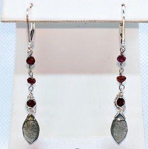 Labradorite garnet & sterling silver earrings